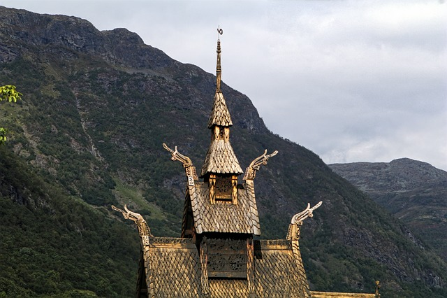 Church Norway Stave Church Mountains Panorama