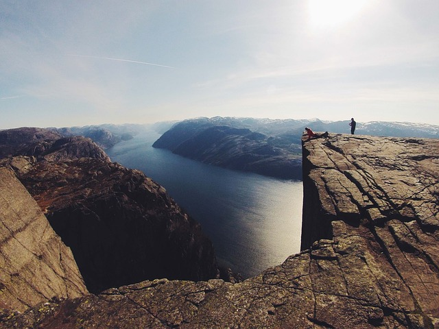 Cliff Rock Massive High View Fjord Ocean Sea