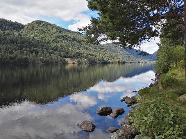 Fjord Lake Water Mountain Norway Hardanger Clouds