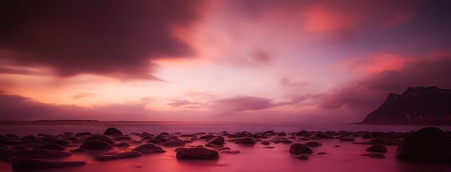 Norway Sunset Dusk Sky Clouds Panorama Beautiful