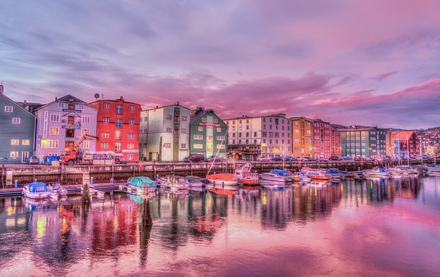 Norway Trondheim Old Town Harbor Sunrise