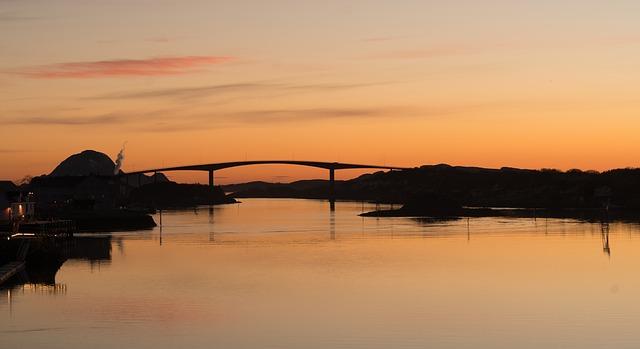 Norway Coast Sunset Bridge Seascape Sky Nature
