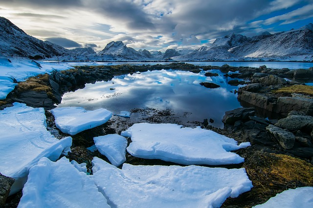 Norway Fjord Lake Water Ice Chunks Landscape