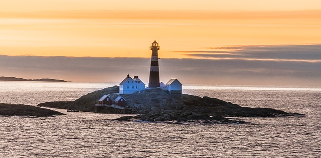 Norway Island Rocky Sunset Lighthouse Architecture