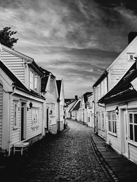 Stavanger Norway Old Town Street Wooden Houses